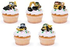 DIGGER CONSTRUCTION Edible cake party toppers x 20 STAND UPS
