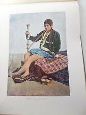 PERSE/Gravure 19°in folio couleur/téhéran:Persane fumant le Kalgan