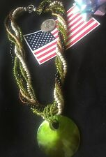 """Glass Beads Green Shell Pendant Gift """"Handmade"""" 6 Strand Necklace Mix Colored"""