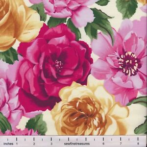 BOLT END Flower of the Month LARGE ROSES CREAM Northcott Fabric By the FQ 1/4 YD