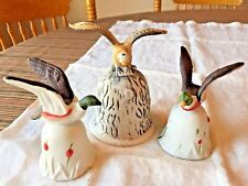 Lot of 3 Porcelain Pottery Bird Bells~Eagle, Ducks~Country Hunting Cabin Decor