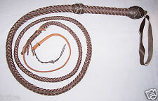 6 Foot 10 Plait Dark Brown Leather Bullwhip Indiana Jones Style ( Bull Whip)