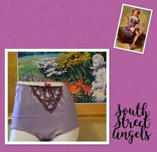 SECRETS IN LACE LAVENDER  SATIN and LACE Embroidered FULL BRIEF PANTIES  MEDIUM