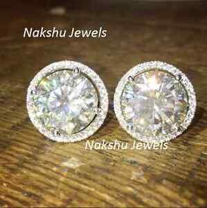 Genuine 4.00Ct White Moissanite Halo Stud Earrings 925 Sterling Silver
