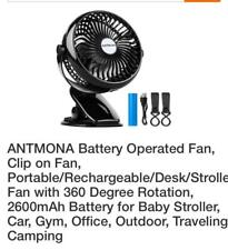 ANTMONA Portable Rechargeable Office Car Battery Operated Clip on Desk Table Fan