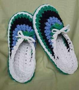 Hand Knitted Blue Black Green and White Maccheroni Womens Slippers