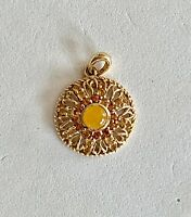 VINTAGE- SOLID 14K YELLOW GOLD PIERCED PENDANT WITH CITRINE GEMSTONES