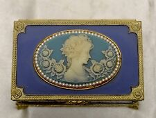 Gorgeous Antique Music Box w Elegant Woman & Rose Sculpted Wedgwood Design JAPAN