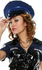 Patrol Hat Faux Patent Leather Brim Blue Police Officer Cop Costume FPH147