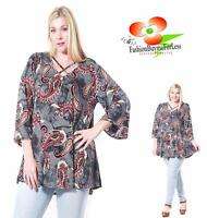 PLUS Size Boho Bohemian 3/4 Sleeve Gray Paisley Peasant Tunic Shirt Top 1X 2X 3X