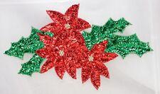 Christmas poinsette  Sequin Applique , Pressure Sensitive glue