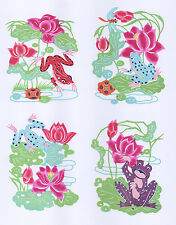 Chinese Paper Cuts Lovely Frog Set 6 Small Colorful Single Pieces Chen