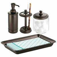 mDesign Classic Bath Accessory Set for Bathroom Vanity Countertops and Sinks, In