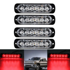 4PCS 6 LED Red Emergency Hazard Warning Beacon Grill dash Strobe Flash Light 12V