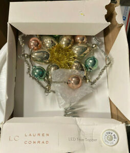 Lauren Conrad Christmas tree topper LED Glass bulb shabby chic battery operated