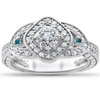 Blue & White Diamond Engagement Ring 3/4ct Cushion Halo 14k White Gold Treated