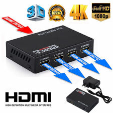 1X4 Full HD HDMI Splitter 4 Port Hub Repeater Amplifier v1.4 3D 1080p 1 in 4 out