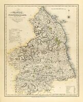 Map of Northumberland towns, gentleman houses election poll reform bill c1833