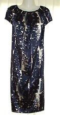 Kaleidoscope~ Ivory & Navy Sateen Shift Dress ~ Size 12  ~ (R13)