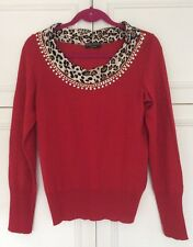 Elisa Fanti Couture red ladies jumper with gold & diamante finishing UK 12