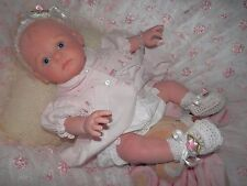 Lot of 6 Pairs WHITE w/Pink Satin Rosebud Flowers Baby Doll Booties Reborn Dolls