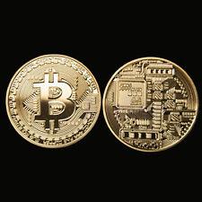 1 x Gold Plated Bitcoin Coin Collectible Gift BTC Coin Art Collection Physical