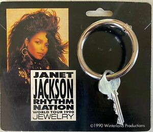Janet Jackson 1989 Rhythm Nation RARE Key Hoop Earring Vintage