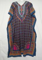 Women Long Dashiki  African Caftan Dress Hippie Boho House Outfit Gown One size