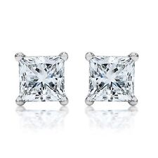 Princess CUT WOMEN STUD EARRINGS Solid 14K White GOLD Screw Back 2.00 carats