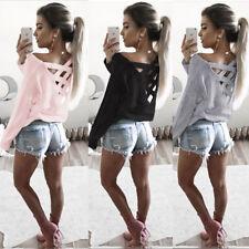 Damen Bluse Pullover T-Shirt Pulli Rückenfrei Shirts Langarm Hemd Tunika M L XL