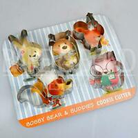 Bobby Bear & Buddies Set of 5 Cookie Cutters Rabbit Owl Squirrel Fox Animal