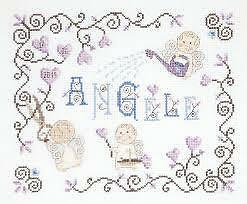 Little Angel First Name Baby Sampler DMC Counted Cross Stitch Kit BK1033