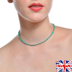 Necklace Light Blue Gold Choker String Beaded Strand Women Elegant Gift Bag UK