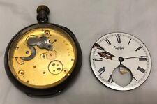 ANTIQUE WALTHAM CIRCA 1889 DOUBLE HALF HUNTER 15S COIN-SILVER POCKET WATCH-PARTS