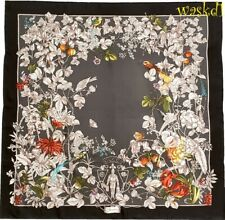 """GUCCI black WONDERGARDEN flowers & birds CREST logo silk 35"""" Scarf NWT Auth $440"""