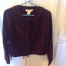 Women's plum Corduroy jacket with ruffle trim size S by Sandro