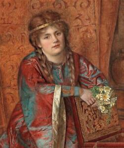 VIOLET LINTON Watercolour Painting PRE-RAPHAELITE STYLE FEMALE PORTRAIT - 1909