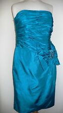 12 Blue Silk Ruched Pencil Dress by Julien Macdonald Very 1950s Vintage Style