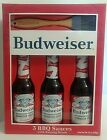 Budweiser BBQ Sauce & Basting Brush Set - 3 BBQ Sauces Classic Sweet/Smoky Honey