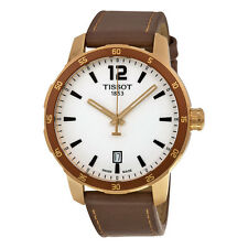 Tissot Quickster Silver White Dial Brown Leather Mens Watch T0954103603700