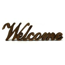 """Rustic Vintage Distressed Wooden Words """"Welcome"""" Tabletop/Home Wall/Office Decor"""