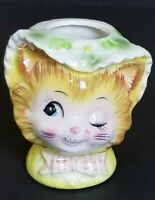 RARE VINTAGE CUTE WINKING EYE CAT FACE CERAMIC VASE HAND PAINTED PLANTER FIGURE
