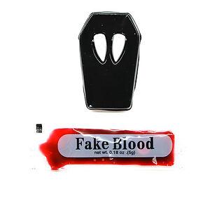 Dracula Fangs Teeth + Fake Blood Vampire Halloween Costume Party Fancy Dress
