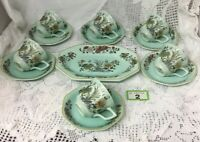 Adams Ming Jade Coffee Set 6 Demitasse Cups Saucers &Biscuit Plate Duck Egg Blue