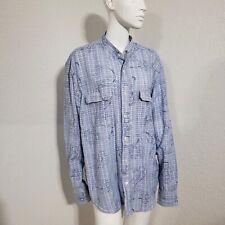 Lucky Brand Floral Blue Mandarin Collar Top Long Sleeve Button Front Shirt Sz XL