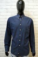 Camicia Uomo Best Company Taglia 2XL Maglia Polo Shirt Cotone Blu Hemd Camisa