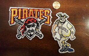 "(2) Pittsburgh Pirates  vintage Embroidered Iron On Patch Lot 3.5"" x 3"" & 3.5x2"""