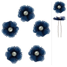 5 épingles cheveux mariage soirée fleur bleu foncé cabochon nacré ivoire