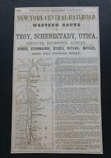 Orig RARE Antique 1865 New York Central Railroad Western Route Ad Vtg