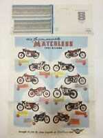 """Vintage Motorcycle Poster Parts List 22"""" x 34"""" 1961 Season Matchless Domi Racer"""